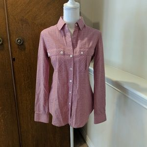 Theory Blouse Top Shirt Plaid Flannel Button Up